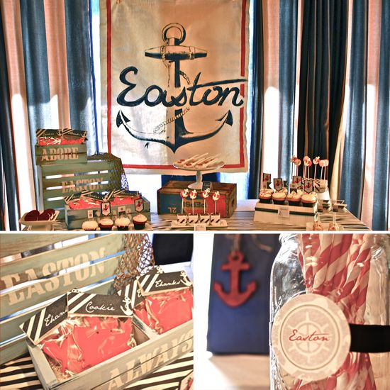 Ahoy There! A Vintage Nautical Baby Shower - www.lilsugar.com: Honeycombs Events, Nautical Shower, Baby Shower Ideas, Vintage Nautical, Nautical Baby Showers, Shower Theme, Nautical Party'S, Nautical Parties, Baby Shower