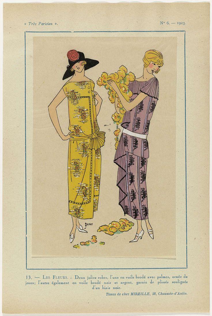 Très Parisien, 1923,  No 6: 13.- LES FLEURS. - Deux jolies robes,..., anoniem, Mireille, G-P. Joumard, 1923