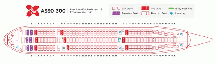 AIR ASIA AIRLINES AIRBUS A330-300 AIRCRAFT SEATING CHART