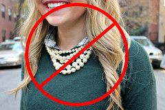 Don't wear pearls with shetland wool, it can damage them.