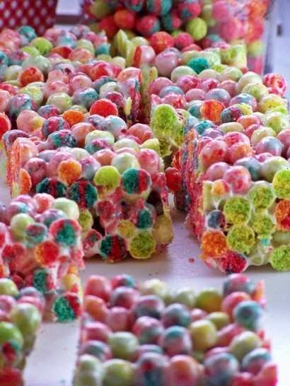 trix krispies  (the link doesn't work but they are probably still made the same as the rice ones. Stir gently so you don't break up the Trix.