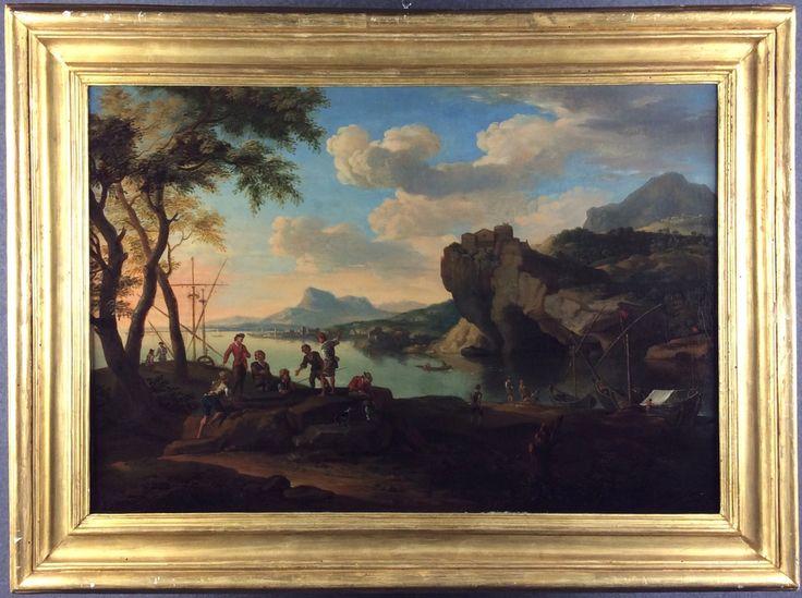 DE HEUSCH JACOB  Nato a Utrecht (Olanda) nel 1657. Morto ad Amsterdam nel 1701. Dipinto olio su tela raff. 'PAESAGGIO MARINO CON PESCATORI'. Firmato e datato 1697 in basso al centro