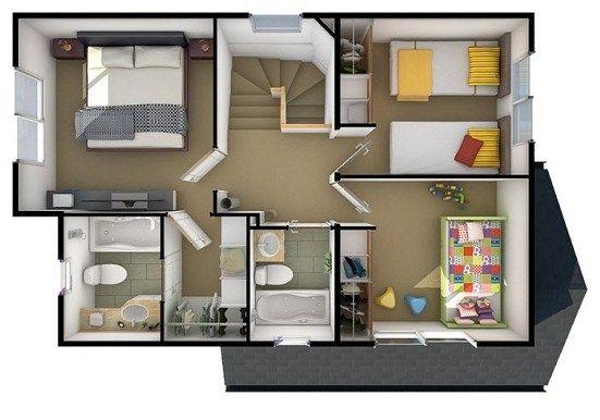 Plano de casa de 3 habitaciones en dos pisos hhh for Planos de casas de un piso 3 dormitorios