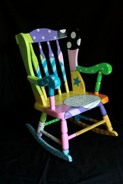 Colorful and unique rocking chair for sale. Gorgeous colors and design. One-of-a-kind piece of art. on Etsy