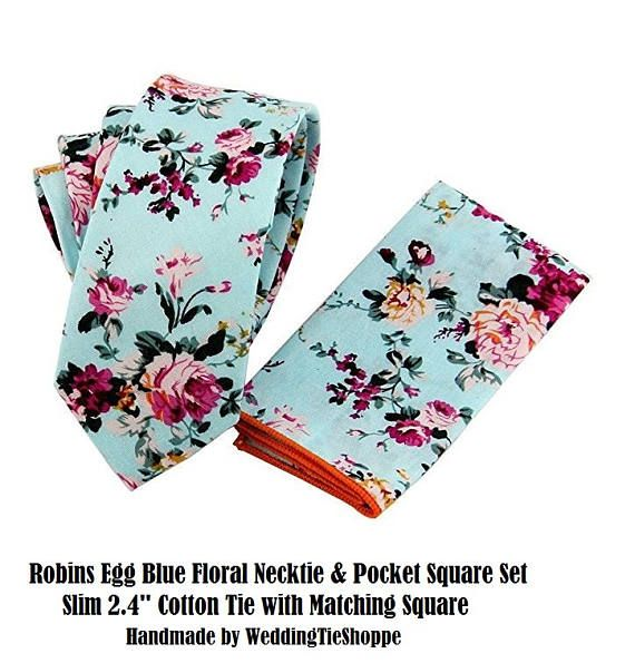 Wedding Tie Blue Floral Tie with Pocket Square Wedding Flower