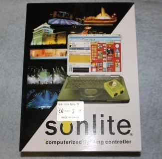 Sunlite 1024 Computer Lighting Control Hardware & Software  DMX in & out  Audio analysis & syncronization  MIDI in & out  Internet supported  Multimedia AVI,CD,DVD, DIVX, WAV, MP-3, MPEG  Time Lines with easy flow  Easy View 3D Simulation  Time & Date triggering  Operating Systems Windows XP, Vista & 7