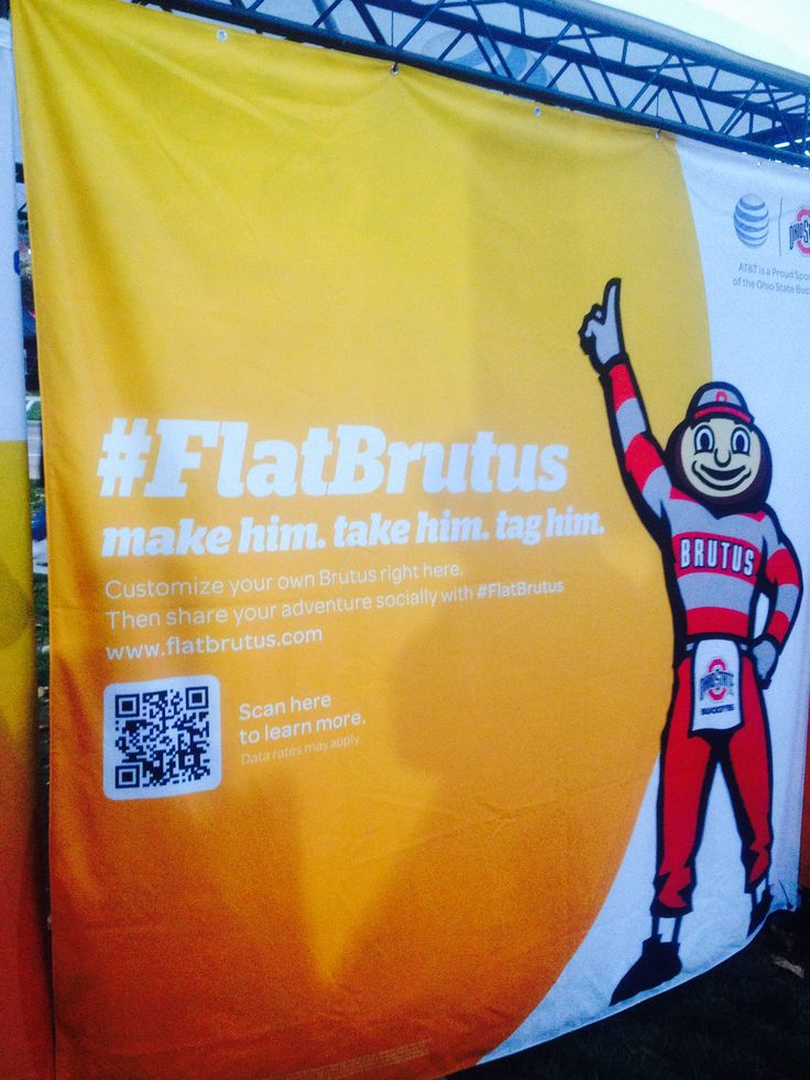 This selfie with the mascot idea has fans claiming a free Brutus (team mascot) cut out. They then take a selfie and tweet or post it to the teams social channels and get selected to win prizes at Ohio State Uni college football, Columbus.