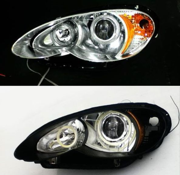 2006 2010 Pt Cruiser White Led Halo Hid Projector Headlight Set Bi Xenon High Low Beam In Chrome Or Blacked Out T Headlights