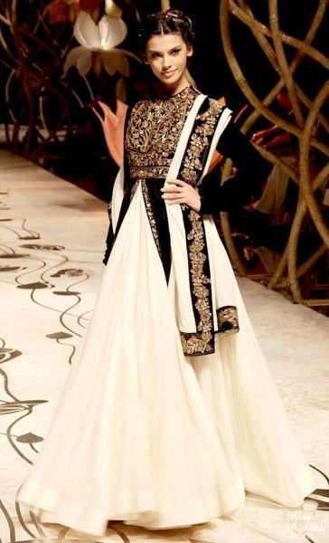 Rohit Bal black and white moghul-like anarkali with a skirt Indian Bridal Fashion Week, 2013