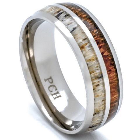 Elegant Deer Antler and Koa Wood Ring Titanium Mens Wedding Band Comfort Fit