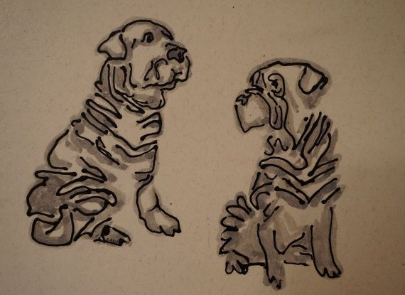 Art for sale at Paintparty101 on Etsy.com. Christine brock, artist. Shar pei art Shar pei paintingShar pei by Paintparty101 on Etsy