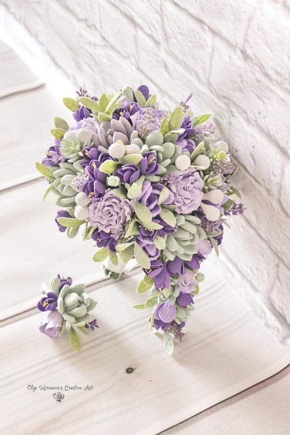 Cascading Bridal Bouquet Teardrop Succulent Bouquet Keepsake