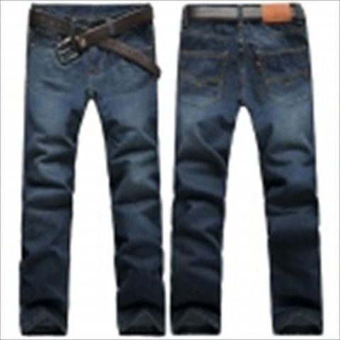 Men's Fashionable Slim Straight Jeans Pants - Dark Blue (Size 36) $35.75