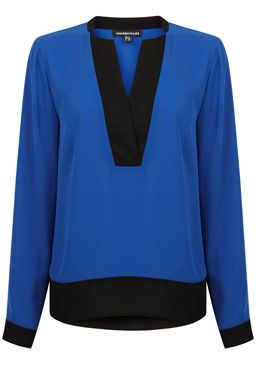 This two-tone blouse is constructed from a lightweight woven fabric and features a collarless v-neckline, long sleeves and contrast panelling to neckline, cuffs and hem. Length of top, from shoulder seam to hem, 61cm approx. Height of model shown: 5ft 10 inches/178cm. Model wears: UK size 10.Fabric: Main: 100.0% Polyester.  Contrast: 100.0% Polyester.Wash care: Machine WashProduct code: 02263831 £36.00
