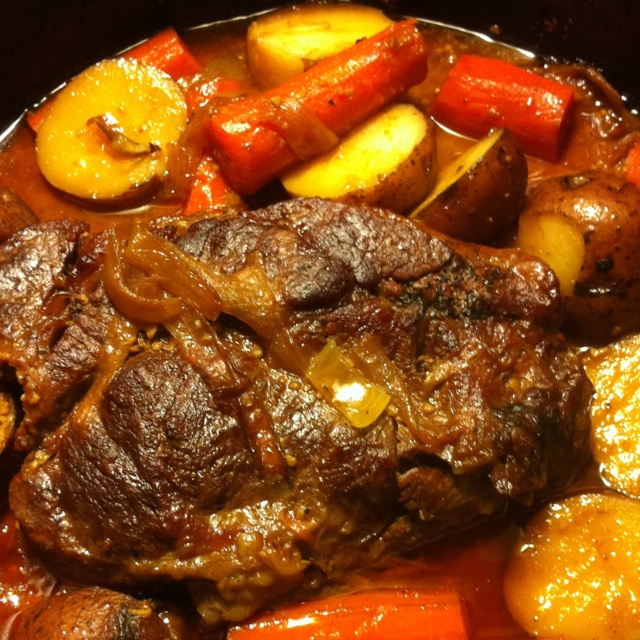 The Best Chuck Roast Ever! 2TLB oil,6 cloves garlic ,2tsp kosher salt,1tsp pepper,1tsp rosemary 1 bag carrots and 8 potatoes... Use an black cast iron pot add oil and brown roast add beef liquid stock up to 1/3 of roast..add 1TLB tomato paste and garlic,salt,pepper and rosemary.. Put lid on cast iron pot and @300 degrees put in oven for 2 1/2 hours.. After that time take out and add potatoes, carrots and onions .. Mix some of the liquid on the veggies .. Put lid back on and put in oven for 1…