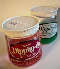 Dippity-do was a hair gel, usually applied before rolling hair in curlers. Sometimes it was used to smooth down bangs or fly-away hairs