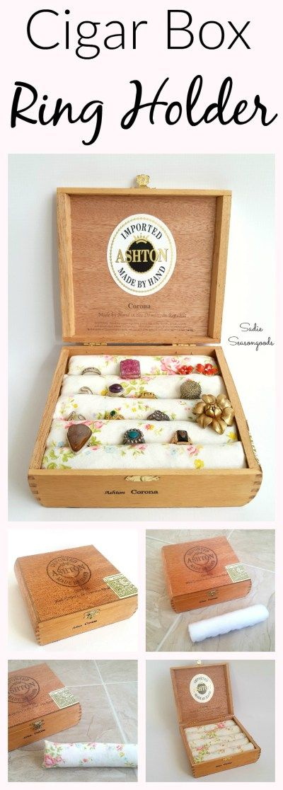 Create an easy-to-make DIY ring holder & display by repurposing a vintage cigar box and upcycled bed sheet fabric. Super easy and you might already have all the supplies! Another great jewelry organization idea by #SadieSeasongoods / www.sadieseasongoods.com