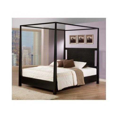 queen canopy bed bedroom furniture black wood four poster traditional modern contemporary