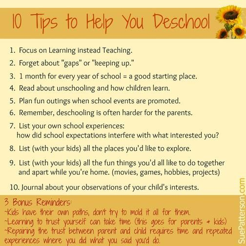 """Deschooling - """"Deschooling is the term we use when people are trying to get past the school version of learning and open to the idea that learning is actually much bigger than that."""""""