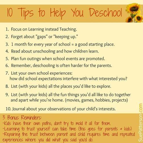 10 Tips to Help you Deschool