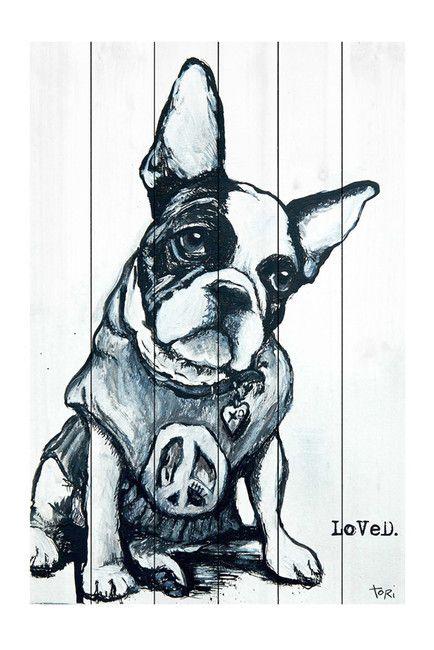 French Bulldog, Victoria Loved Pine Wood Wall Art