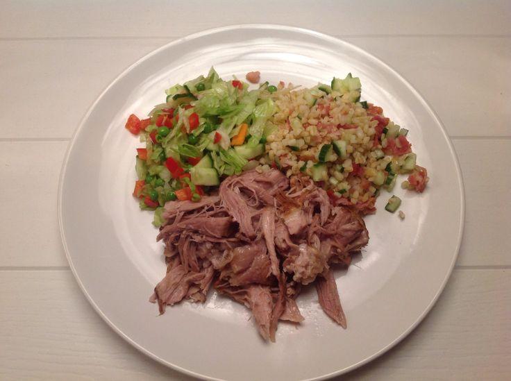Pulled pork whit fresh salad and bulgur salad