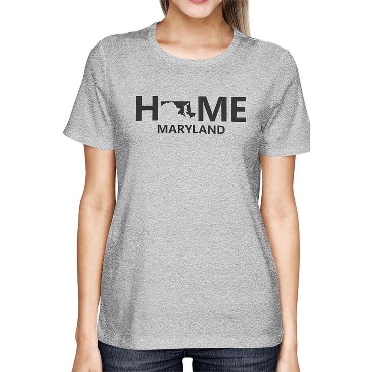 Home MD State Grey Women's T-Shirt US Maryland Hometown Graphic Tee
