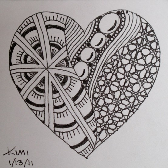 15 best images about zentangle hearts on Pinterest | Heart ...