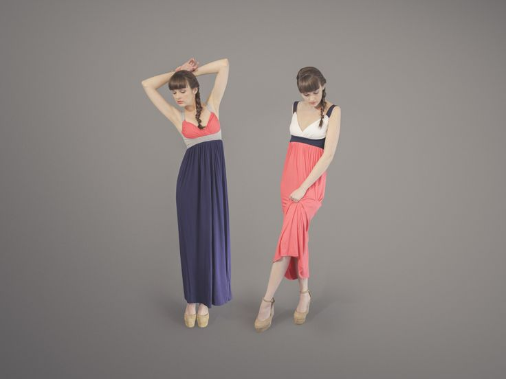 Wish You were here maxi dress - Navy, Coral