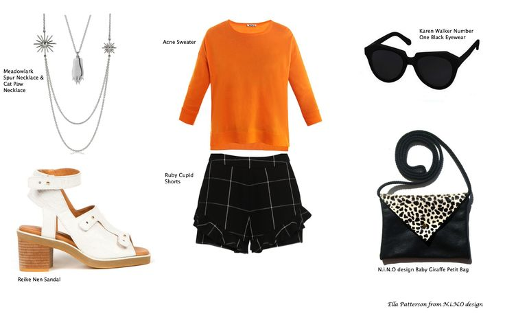 Meadowlark, Ruby, Acne Studios and Karen Walker form my style of the day! orange, black, white, silver in leather, wool and pony hair.