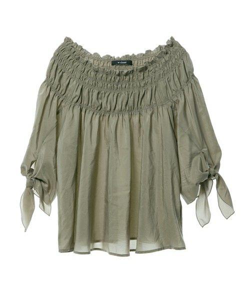 w closet(ダブルクローゼット)の「袖リボンシャーリングプルオーバー(シャツ/ブラウス)」|詳細画像