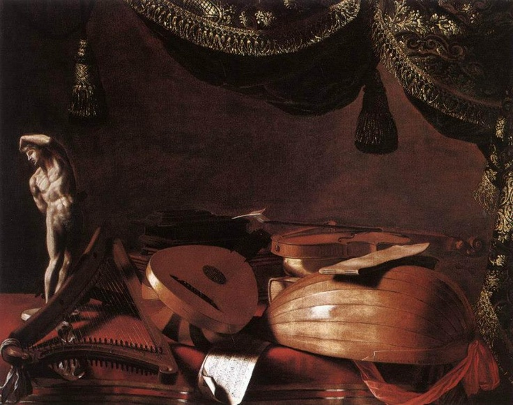 Evaristo Baschenis - Still-Life with Musical Instruments and a Small Classical Statue Accademia Carrara
