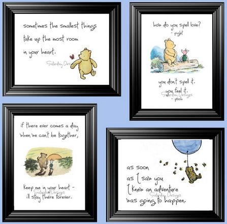 Lovely Winnie the Pooh Quotes and Sayings for Nursery Girls Bedroom Wall Stickers Murals