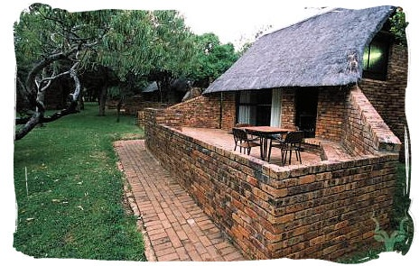 The bungalows and cottages at the camp are square, thatched and built with a rustic looking face brick. They were designed and positioned in such a way that none of them face onto each other and each veranda has its own view.
