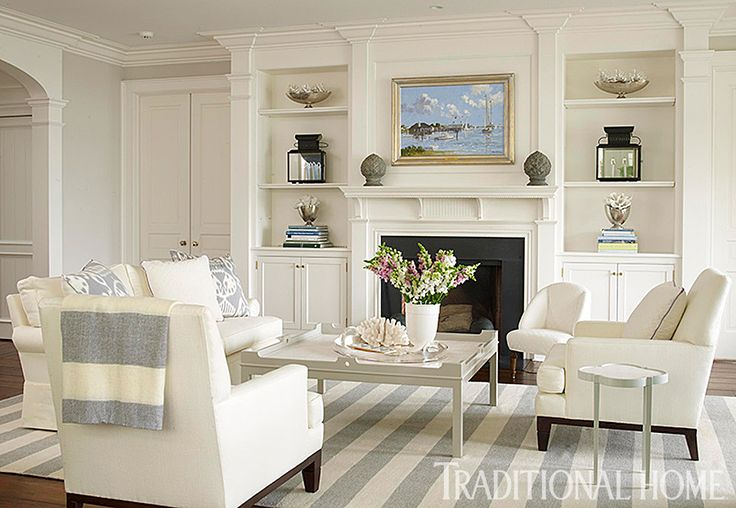 25 Years of Beautiful Living Rooms | Traditional Home--- fireplace surround