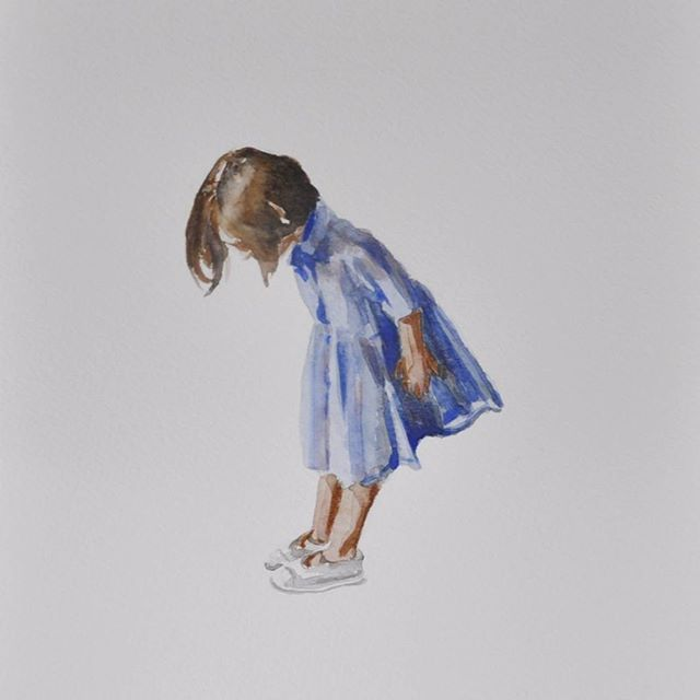 Little girl with new shoeses. #watercolor on #cansonpaper
