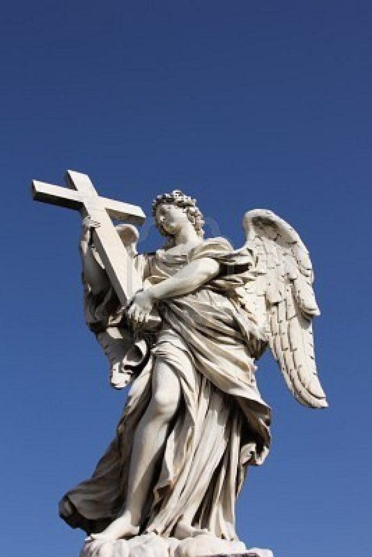 Famous Bernini Angel Sculpture On San Angelo Bridge In Rome,Italy Photo