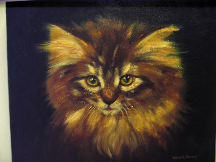 Cat Oil painting by Nansy N. Pedersen