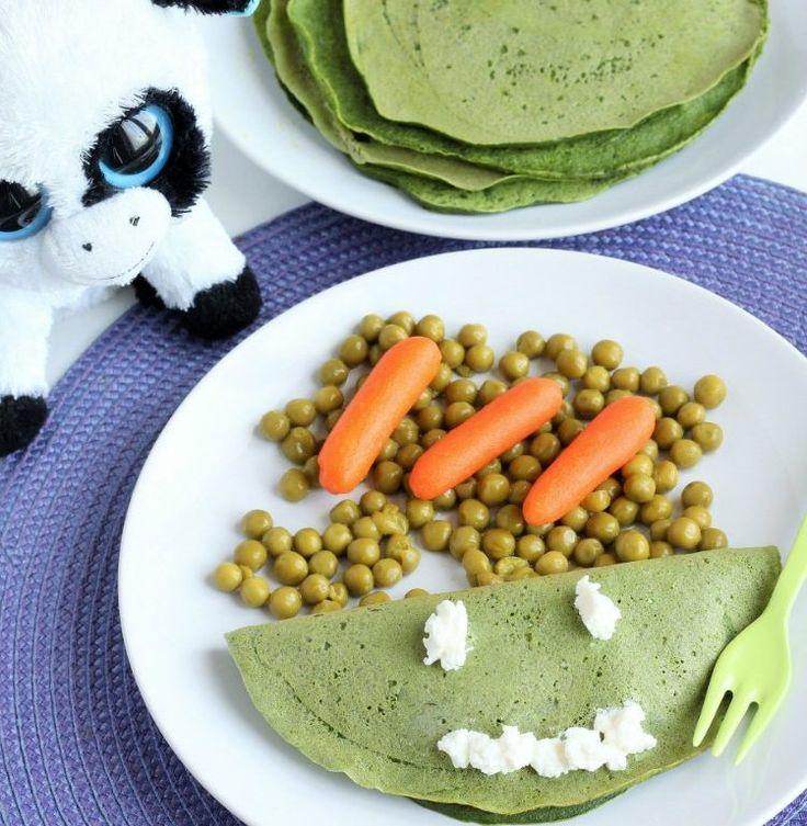 Crêpes con spinaci, ricotta e pisellini freschi