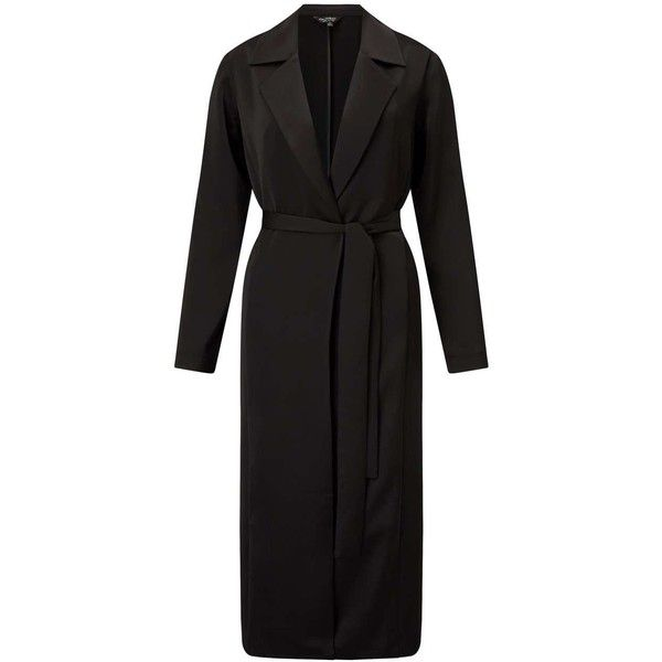 Miss Selfridge Black Satin Duster Coat (1.434.500 IDR) ❤ liked on Polyvore featuring outerwear, coats, black, duster coats, satin duster coat, miss selfridge, satin coats and miss selfridge coats