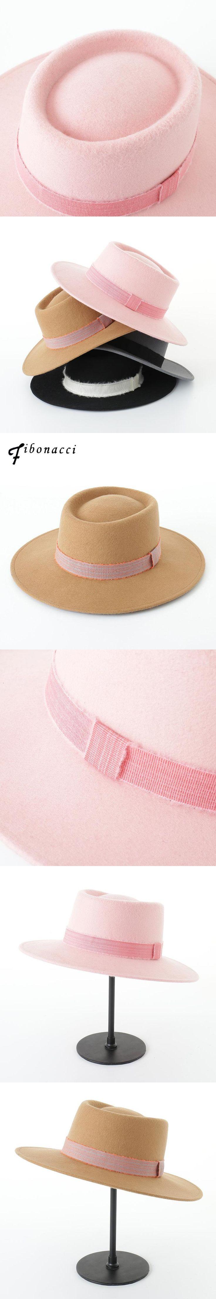 Fibonacci Men Wool Felt Pork Pie Hats Winter Women 100%Wool Felt Hat Mens Blank Flat Wide Brim Fedora Hat