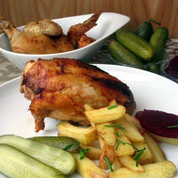 Kuře Barbecue s domácími hranolky - Ošulené  Barbecue