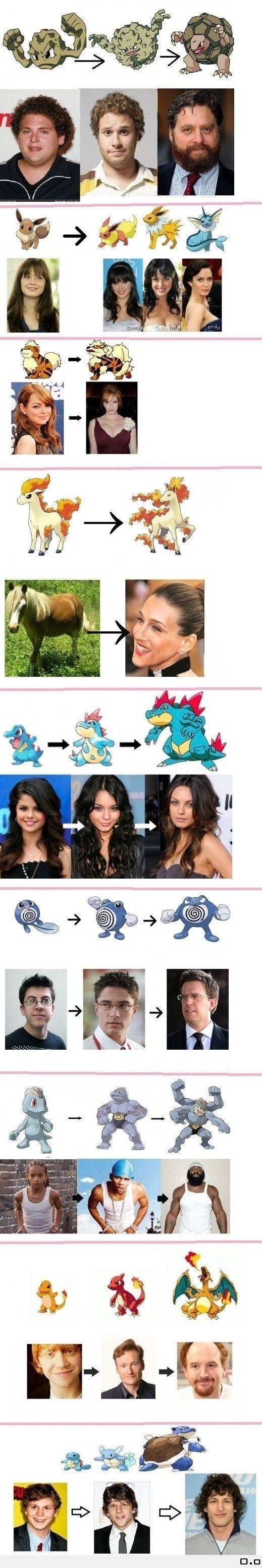 Various evolutions. I don't know Pokemon... but this is awesome.