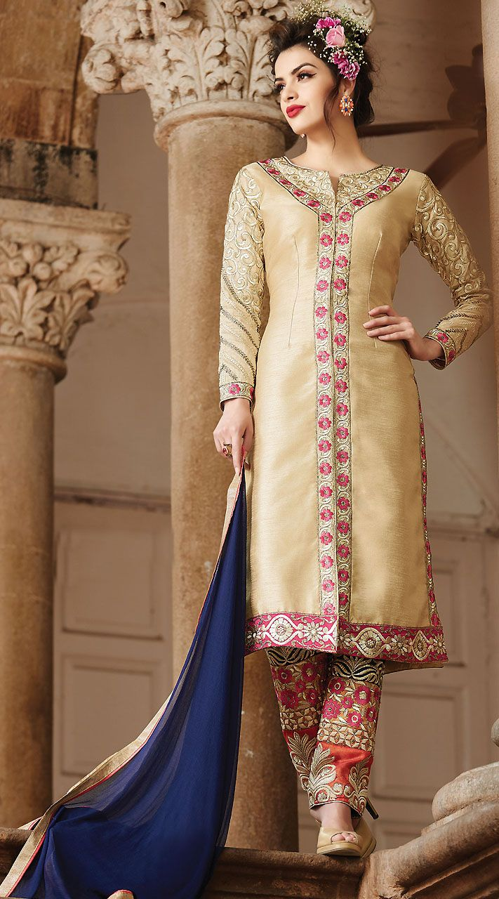 Pretty Embroidered Golden Cream Art Silk Suit With