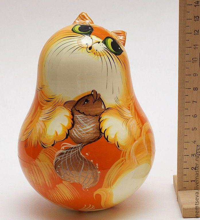 Купить Рыжий кот с рыбкой 13 см - рыжий, кот, неваляшка, лаковая миниатюра, подарок