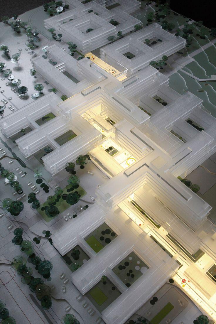 schmidt hammer lassen architects: allborg university hospital,  maquette, architectural model, maqueta, modulo