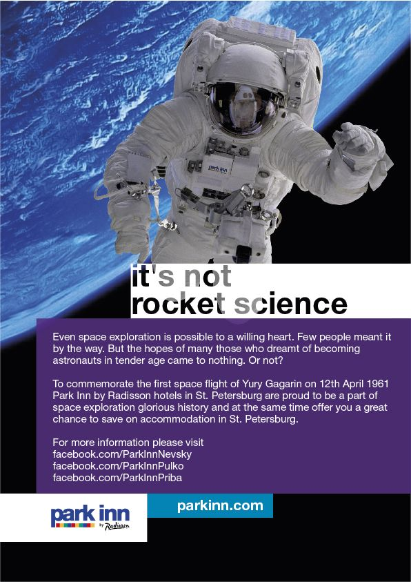 It's not a rocket science. Save up on a trip to St.Petersburg and stay with Park Inn by Radisson hotels. #cosmos