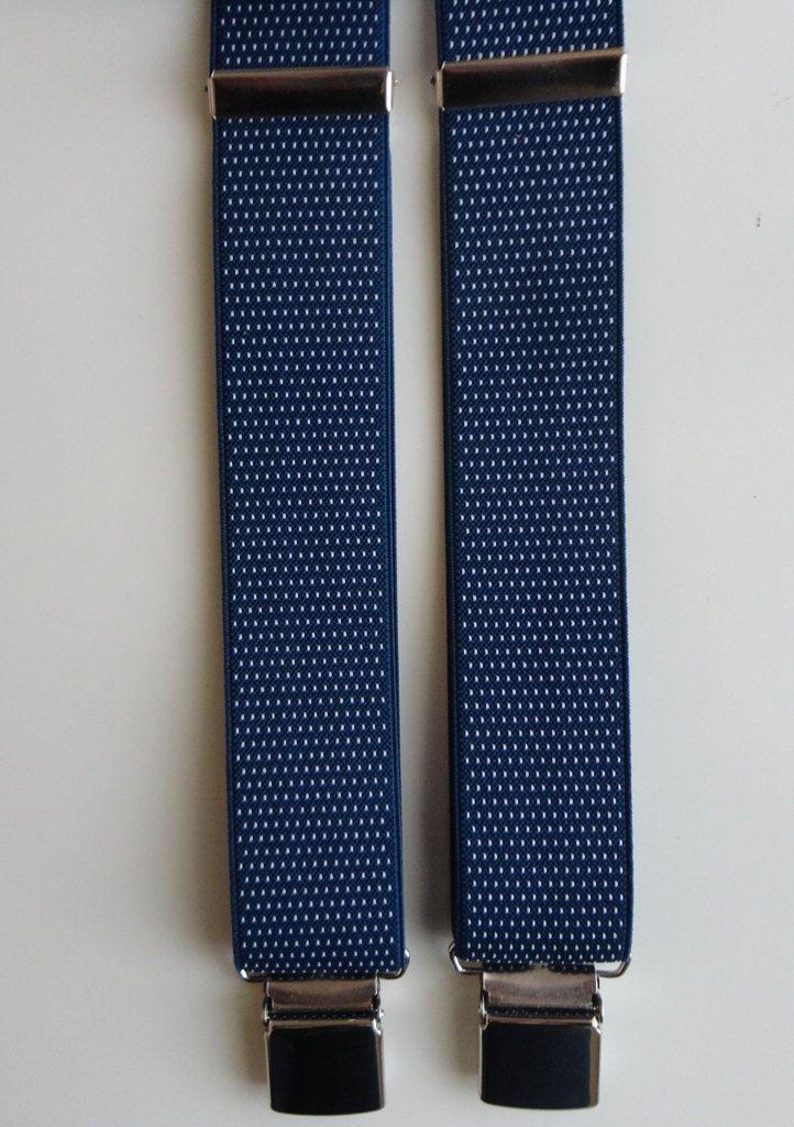 BRETELLA BLU a micro POIS bianchi.  Particolari in vera pelle di colore nero, largh. cm 3,5 modello a Y (due clips davanti e una dietro) di SuspendersTime su Etsy