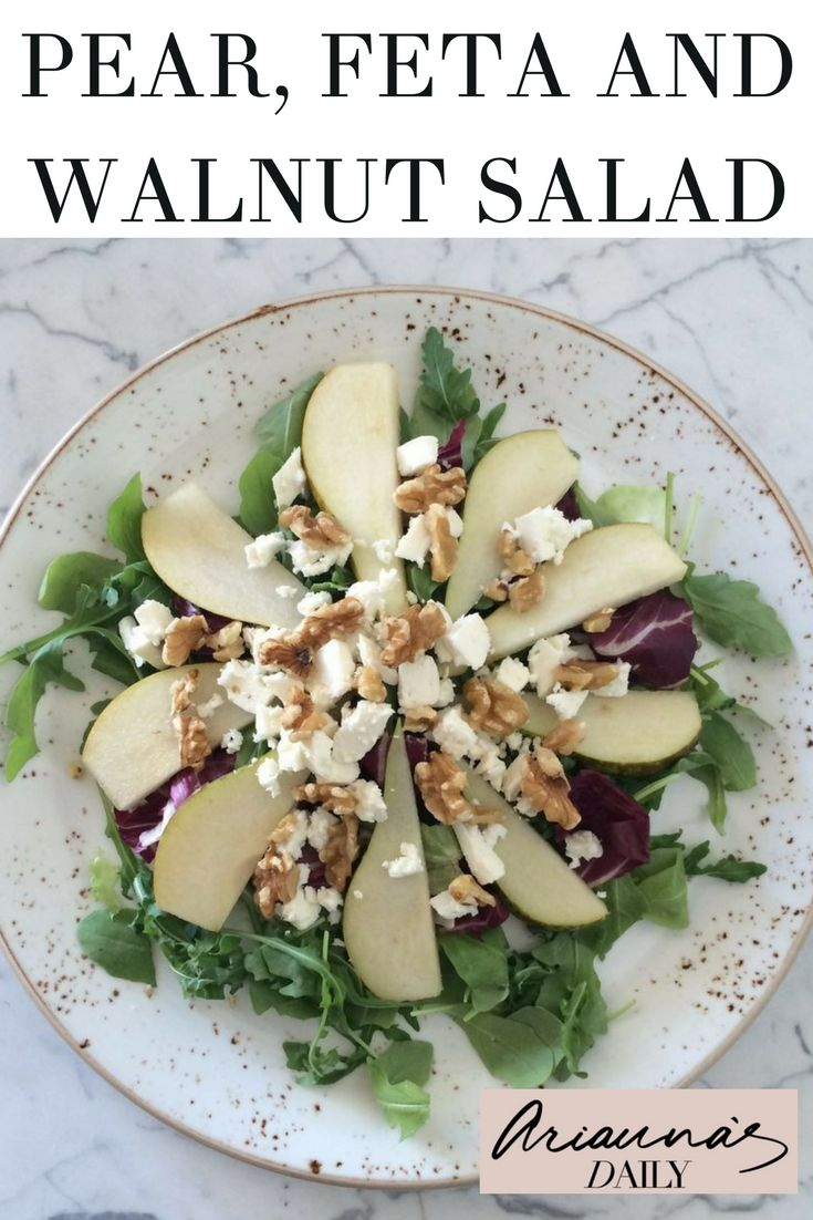 Looking for something healthy and refreshing? Check out our recipe for this delicious pear, feta and walnut salad, ideal for a healthy lunch. Using only 5 ingredients this really is super simple too. #saladrecipe #feta #pearsalad #simplesalad