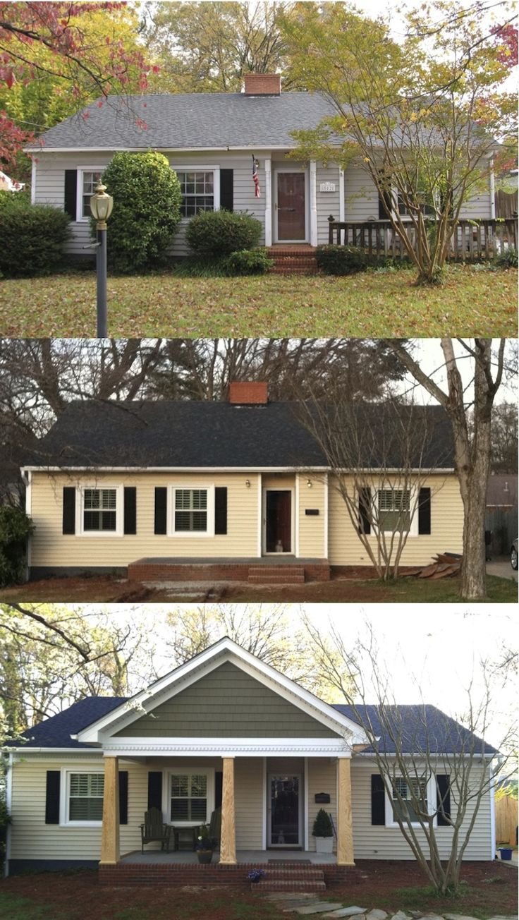 Before And After The Porch Addition Showing A Welcome Zone As Well As  Covered Out Door Seating Area. From Boring To Craftsman Style By Adding A  Porch.
